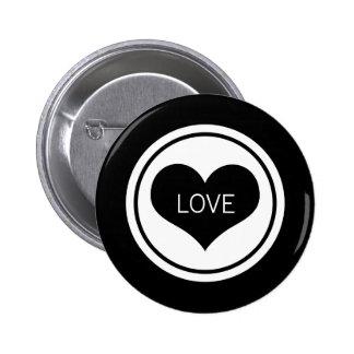 Sleek Heart Button, Black and White