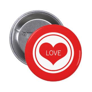 Sleek Heart Button, Red