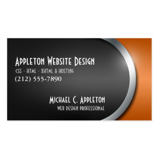 Sleek Orange with Social Networking Buttons Business Cards