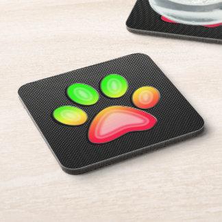 Sleek Paw Print Beverage Coasters