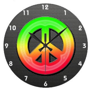 Sleek Peace Sign Large Clock