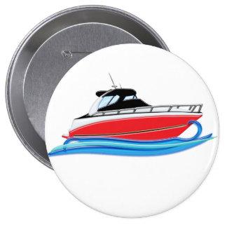 Sleek Red Yacht in Blue Wave 10 Cm Round Badge