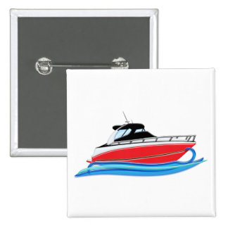 Sleek Red Yacht in Blue Wave 15 Cm Square Badge