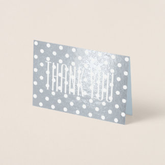 sleek retro minimalist girly polka dot Thank You Foil Card