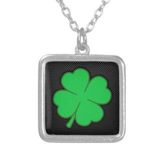 Sleek Shamrock Square Pendant Necklace