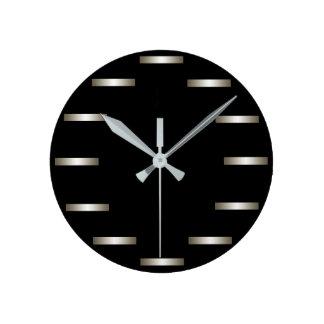 Sleek Silver Black Minimalism Urban CricketDiane Round Clock