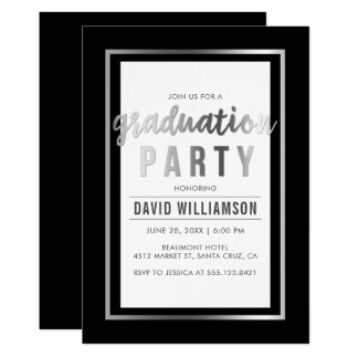 Sleek Silver & Black Typography Graduation Party Card