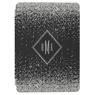 Sleek Silver Glitter Monogram Black Background iPad Air Cover