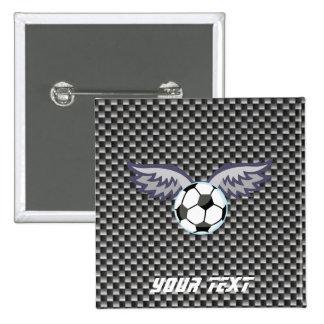 Sleek Soccer Ball Wings 15 Cm Square Badge