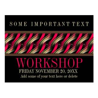 Sleek Stylish Black+Pink Workshop Invitation Postcard