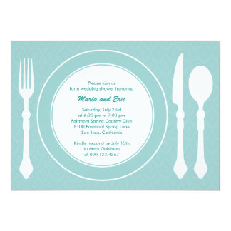 Sleek Tabletop Wedding Shower Invitation Turquoise