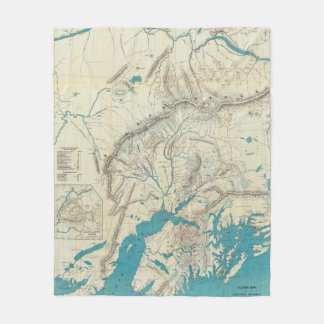 Sleem's Map of Central Alaska Fleece Blanket