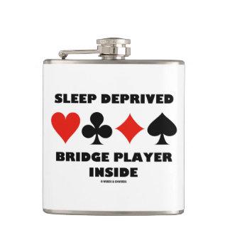Sleep Deprived Bridge Player Inside Card Suits Hip Flask