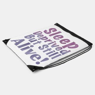 Sleep Deprived But Still Alive in Sleepy Purples Drawstring Bag