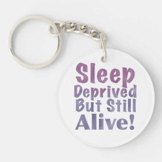 Sleep Deprived But Still Alive in Sleepy Purples Key Ring