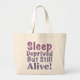 Sleep Deprived But Still Alive in Sleepy Purples Large Tote Bag