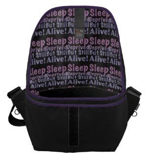 Sleep Deprived But Still Alive in Sleepy Purples Messenger Bag