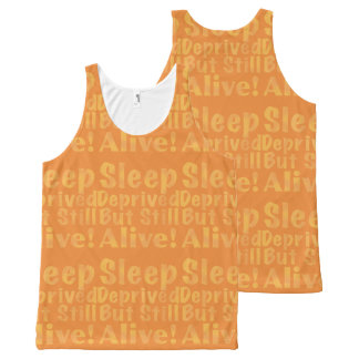 Sleep Deprived But Still Alive in Yellow All-Over Print Tank Top