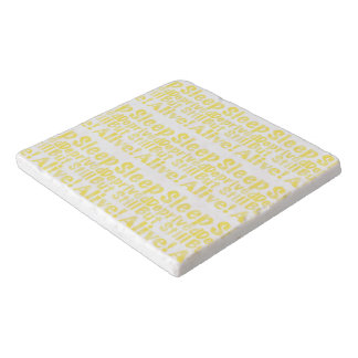 Sleep Deprived But Still Alive in Yellow Trivet