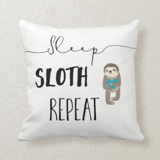 Sleep Sloth Repeat Teal White Throw Pillow