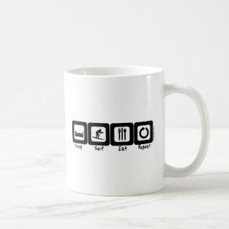Sleep Surf Eat Repeat Basic White Mug