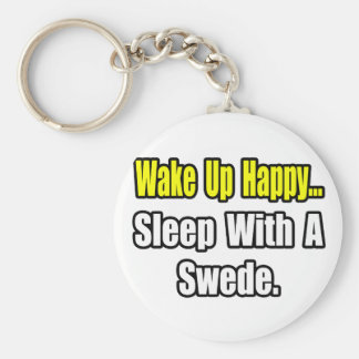 Sleep With a Swede Basic Round Button Key Ring