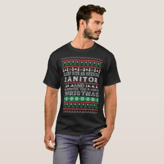 Sleep With Awesome Janitor White Christmas T-Shirt