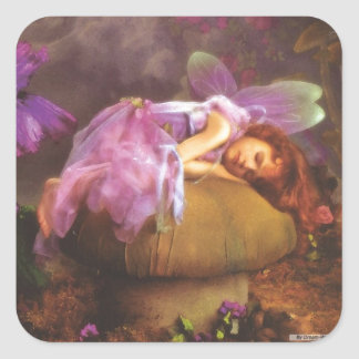 Sleeping Angel Square Stickers