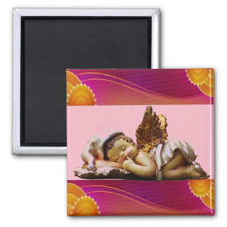 Sleeping Angel with Gold Wings Decorative Magnet