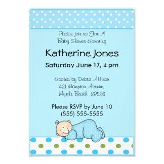 Sleeping Baby Boy 13 Cm X 18 Cm Invitation Card