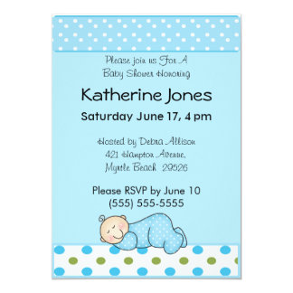 "Sleeping Baby Boy 5"" X 7"" Invitation Card"