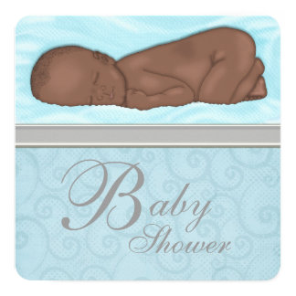 Sleeping Baby Boy Blue Gray Baby Shower 13 Cm X 13 Cm Square Invitation Card