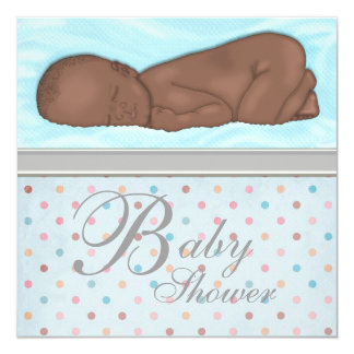 Sleeping Baby Boy Blue Gray Baby Shower Card