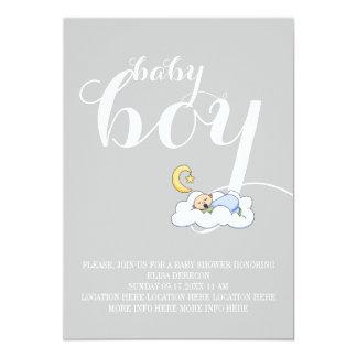 Sleeping baby boy shower elegant text grey 13 cm x 18 cm invitation card