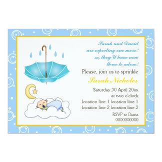 Sleeping baby boy sprinkle blue yellow invitation