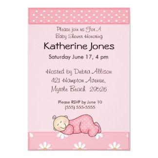 "Sleeping Baby Girl 5"" X 7"" Invitation Card"