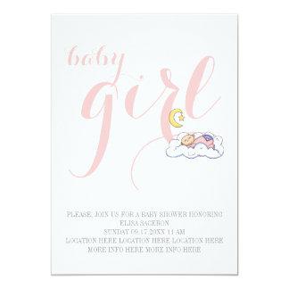 Sleeping baby girl shower elegant text pink 13 cm x 18 cm invitation card