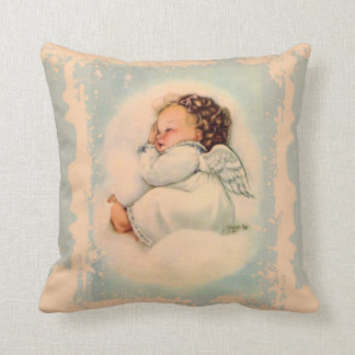Sleeping Baby Guardian Angel Blue Peach Cushion