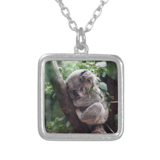 Sleeping Baby Koala Silver Plated Necklace