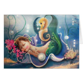 Sleeping Baby Mermaid and Seahorse Card