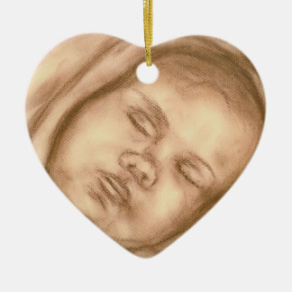Sleeping Baby Sepia Heart Christmas Ornament