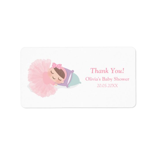 Sleeping Ballerina Tutu Baby Girl Shower Labels