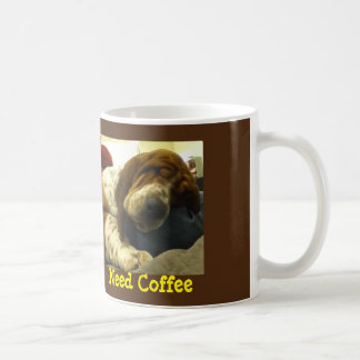 "Sleeping Basset Hound on ""Need Coffee"" Mug"