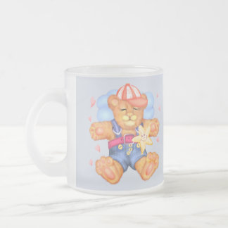 SLEEPING BEAR BABY 2 CARTOON Frosted Glass M11 onz Frosted Glass Coffee Mug