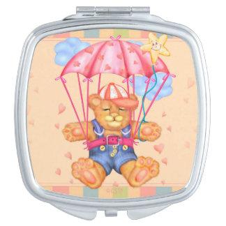 SLEEPING BEAR BABY CARTOON compact mirror SQUARE