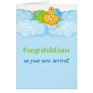 Sleeping Bear, Congratulations Baby Boy Card