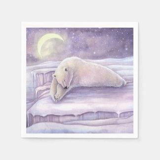 Sleeping Bear Polar Bear Winter Christmas Holiday Paper Serviettes