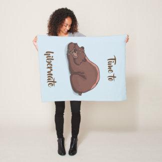 Sleeping Bear// Time To Hibernate Fleece Blanket