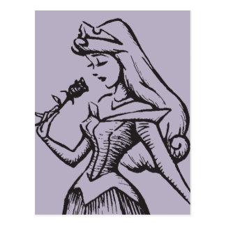 Sleeping Beauty | Aurora - Vintage Rose Postcard