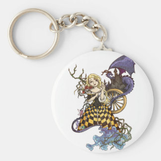 Sleeping Beauty Basic Round Button Key Ring
